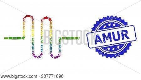Bright Colored Vector Pipeline Mosaic For Lgbt, And Amur Rubber Rosette Seal. Blue Seal Has Amur Tex