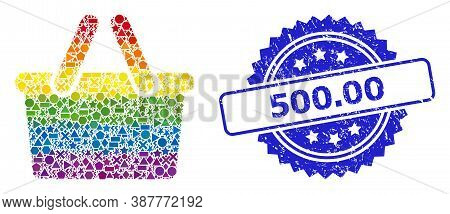 Spectrum Colored Vector Shopping Bag Mosaic For Lgbt, And 500.00 Corroded Rosette Stamp Seal. Blue S