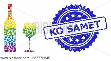 Spectrum Colored Vector Wine Glassware Mosaic For Lgbt, And Ko Samet Unclean Rosette Stamp. Blue Sta