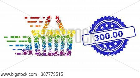 Spectrum Colorful Vector Shopping Basket Collage For Lgbt, And 300.00 Textured Rosette Stamp Seal. B