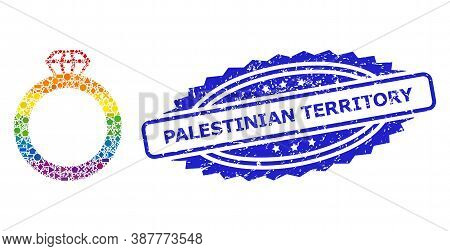 Rainbow Colored Vector Gem Ring Mosaic For Lgbt, And Palestinian Territory Rubber Rosette Stamp. Blu