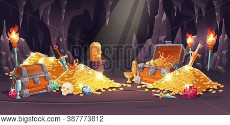 Cave With Treasure, Pile Of Gold Coins, Jewelry And Gem. Vector Cartoon Illustration Of Treasury In