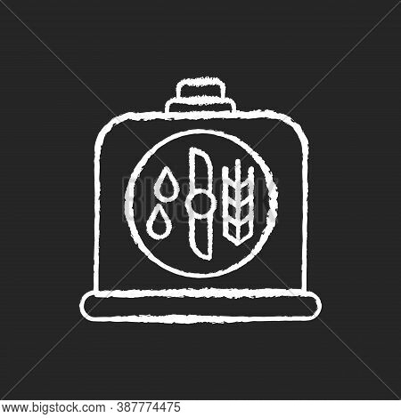 Brewers Yeast Chalk White Icon On Black Background. Brewery Production. Distillery Manufacture For B