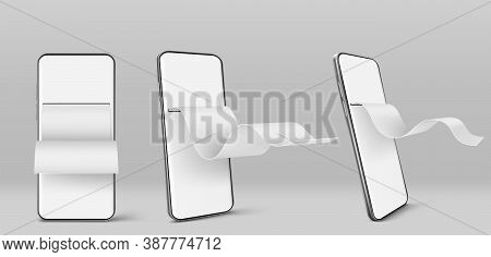 Mobile Phone With Paper Financial Bill In Front And Angle View. Concept Of Online Payment, Digital I