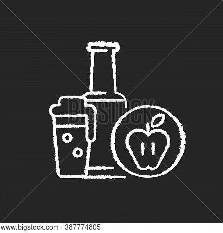 Cider Chalk White Icon On Black Background. Bottled Drink. Apple Alcoholic Beverage. Liquid In Glass
