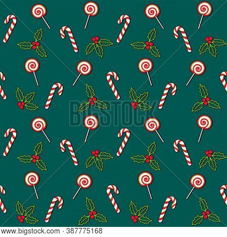 Candy Cane, Lollipop, Mistletoe And Christmas Holly Berries On A Green Background. Vector Seamless P
