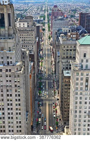 Philadelphia, Usa - June 11, 2013: Aerial View Of South Broad Street In Philadelphia. As Of 2012 Phi
