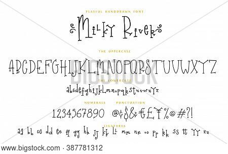 Handwritten Font Playful Set Milky River With Uppercase And Lowercase Letters Numbers And Punctuatio