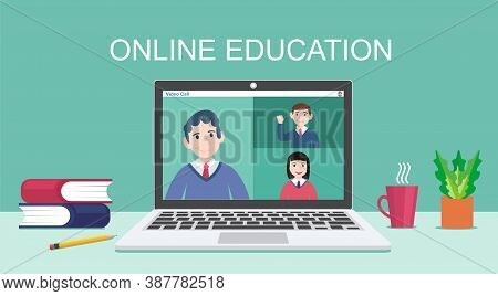 E-learning, Online Education, Online Course Concept, Home School, Woman Teacher Teaching Students On