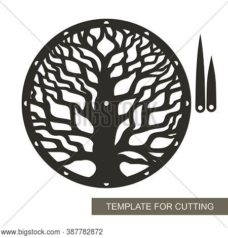 Round Dial With Decorative Tree (trunk, Dense Branches) Inside. Hour And Minute Hands. An Unusual De