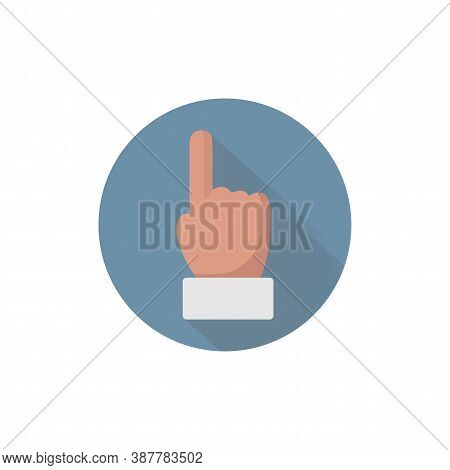 Point Finger Icon, Forefinger Colorful Flat Icon With Long Shadow. Point Flat Icon