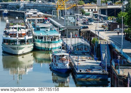 Passenger Ships And Riverboats Docked In The Port Of Belgrade, Serbia