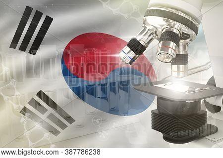 Republic Of Korea (south Korea) Science Development Digital Background - Microscope On Flag. Researc