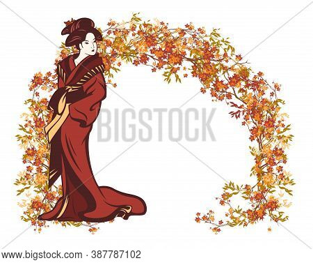 Beautiful Japanese Geisha Wearing Traditional Kimono Dress With Autumn Tree Branches Forming Arch Pa