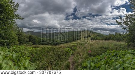 Panorama From Ridge Of Poloniny National Park In Summer Day Near Durkovec Hill