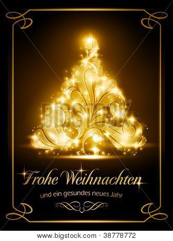 "Warmly sparkling Christmas tree light effects on dark brown background with the text ""Frohe Weihnachten und ein gesundes neues Jahr"", German for ""Merry Christmas and a Happy New Year"". poster"