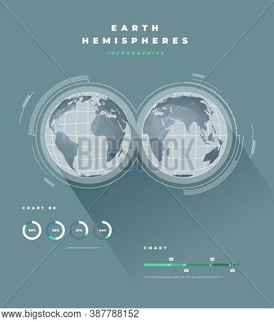 Polygonal Earth Hemispheres Map Infographics. Vector Illustrations Of Map
