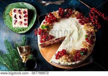 Christmas Fruit Cake. Pudding. New Year Cake. Cherry Cake. Christmas Decoration. Xmas Dessert. Famil