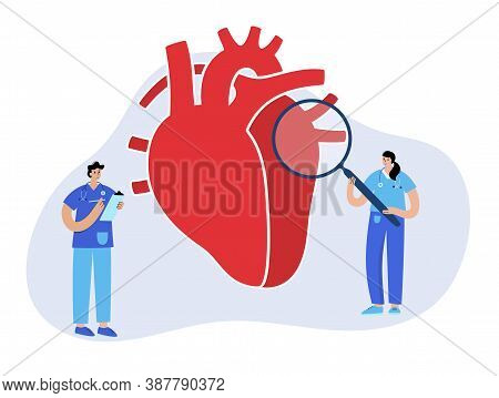 Human Heart Logo For Cardiology Clinic. Cardiologist Appointment, Consultation, Patient Help. Cardio