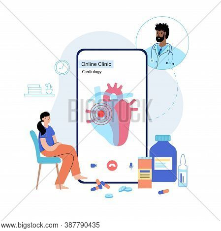 Human Heart Illusatration For Cardiology Online Clinic. Cardiologist Appointment And Treatment By Ph