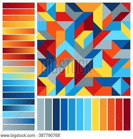 Harmonious Color Palette With Geometric Composition. Seamless Pattern And Blue, Orange, Red, Yellow,