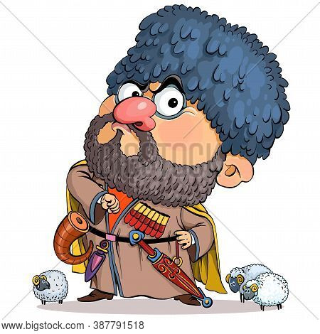 Vector Cartoon. Vector Illustration. Funny Cartoon Caucasian Man In National Costume. Standing Proud