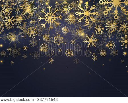 Christmas Banner With Glitter Gold Snowflakes, Glowing Lights And Stars. Luxury Card With Falling Pa