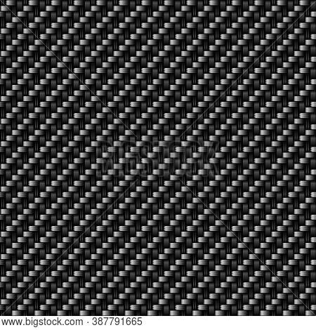 Vector Pattern Of Carbon Fibres Material Surface. Black Textile Fiber Macro Texture. Light Carbon Fi