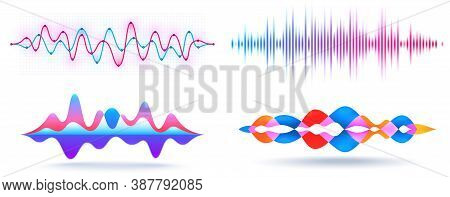 Sound Waves. Abstract Music Wave, Graphic Frequency Equalizer And Voice Recognition Visualization Is