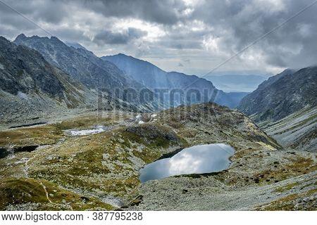 Small Hincovo Tarn, Mengusovska Valley, High Tatras Mountains, Slovak Republic. Hiking Theme. Travel