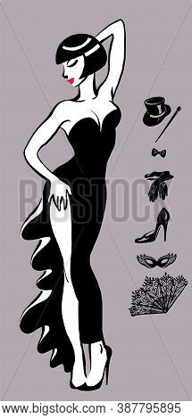 Vector Cartoon. Graceful Beautiful Girl In An Evening Dress. Cabaret, Show, Music Hall, Party. Isola
