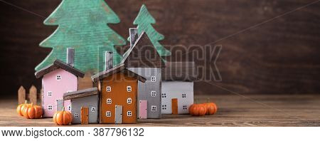 Miniature Thanksgiving Day Little Cosy Fairy Tale Autumn Cottages, Pumpkins, Wooden Background, Post