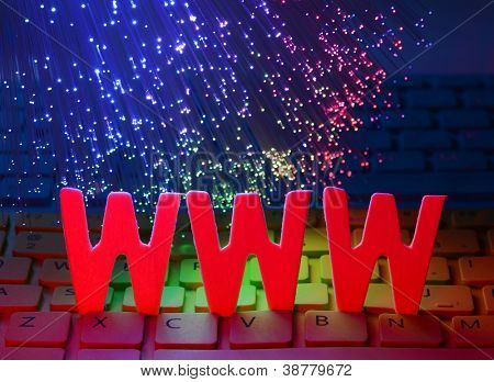 alphabet letters www with Fiber optics background poster