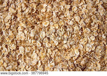 Spilled Raw Oatmeal On The Floor. Scattered Oatmeal Porridge