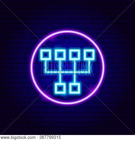 Gearbox Neon Sign. Vector Illustration Of Auto Transmission Promotion.