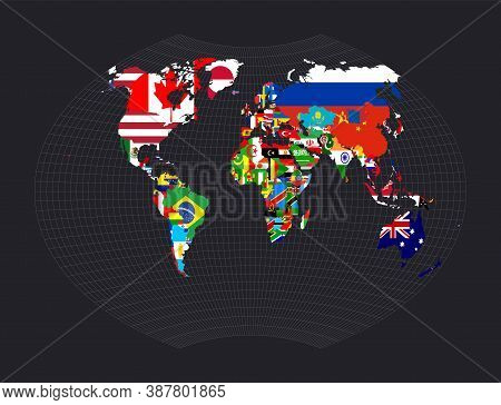 World Flag Map. Ginzburg Vi Projection. Map Of The World With Meridians On Dark Background. Vector I
