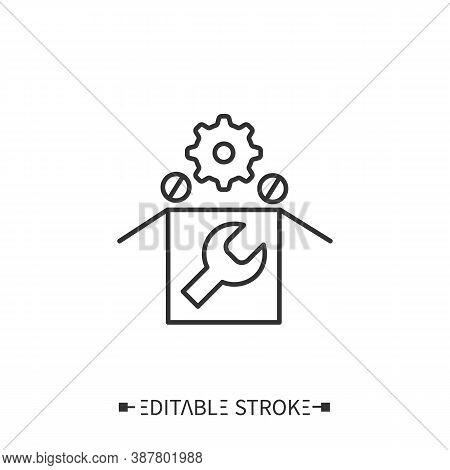 Spare Parts Line Icon. Reserve Kit. Assembly Details. Production Complete Set. Technological Process