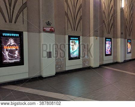 Honolulu - September 25, 2019: Row Of Movie Posters Including Rambo Last Blood, Ad Astra, Hustlers,