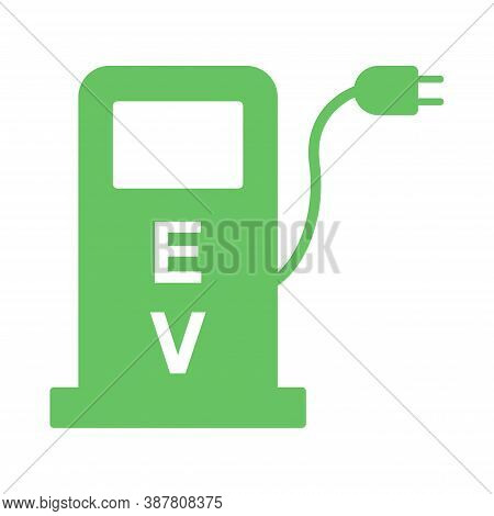 Electric Vehicles Charging Point Icon. Fuel Pump Station For Hybrid Cars Sign Symbol Isolated