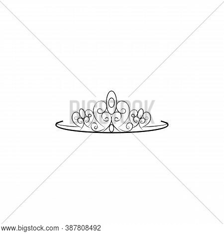 Princess Crown, Diadem Line Icon. Signs And Symbols Can Be Used For Web, Logo, Mobile App, Ui, Ux