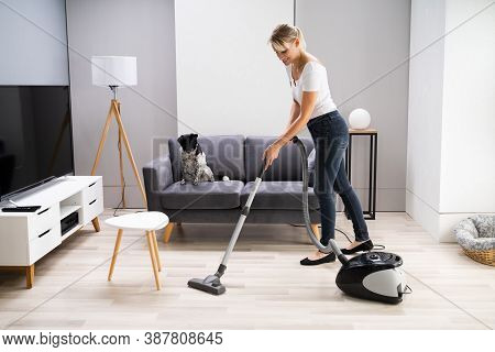 Young Maid Cleaning Carpet With Vacuum Cleaner At Home
