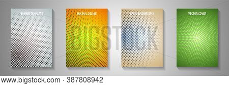 Colorful Circle Faded Screen Tone Title Page Templates Vector Series. Urban Brochure Perforated Scre