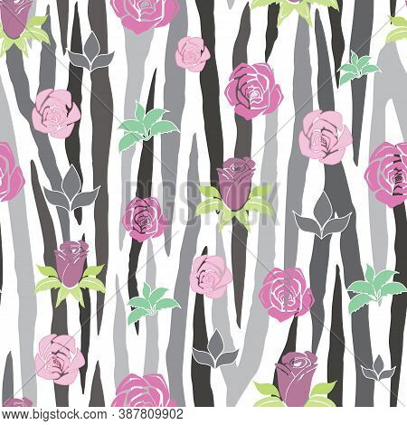 Vector Gray And White Zebra Stripe With Roses Seamless Pattern Background. Versatile, Modern Gray-sc
