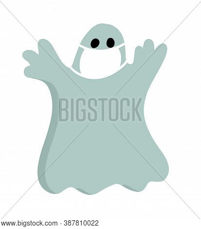 Halloween Cartoon Character During Covid-19 Pandemic. Scary Cute Ghost In Protective Mask.