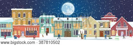 Panorama With Winter Cityscape And People. Snowy Night In A Cozy City. Winter Christmas Village With