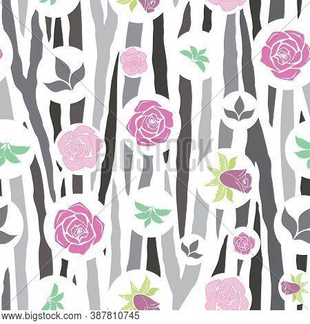 Vector, Geometric Gray Zebra Print Floral Seamless Pattern Background. Versatile, Modern Gray-scale