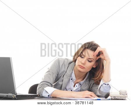 Sad business woman in office isolated on white