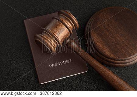 Judge Gavel And Passport. Obtain Citizenship. Corrupt Court.