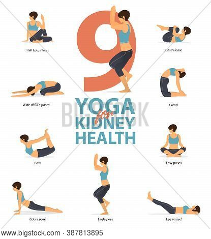 Infographic 9 Yoga Poses For Workout At Home In Concept Of Kidney Health In Flat Design. Women Exerc