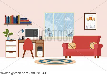 Stylish Home Interior Living Room, Workplace With Sofa, Desk With Computer, Bookshelf, Furniture. Co